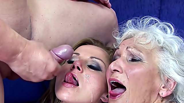 FFM threesome with horny granny Suzy and younger Marimar - HD