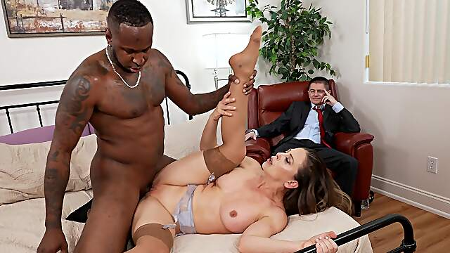 Blacked in front of hubby for her first cuckold